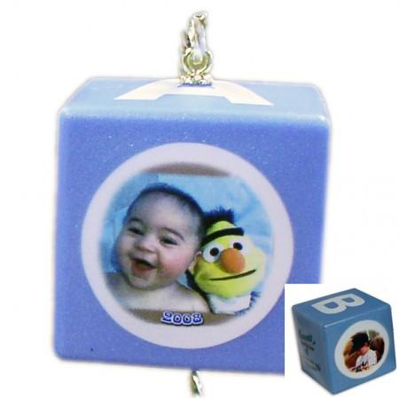 Baby Block Photo Ornaments - BLUE Example