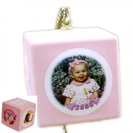 Baby Block Photo Ornaments - PINK Example