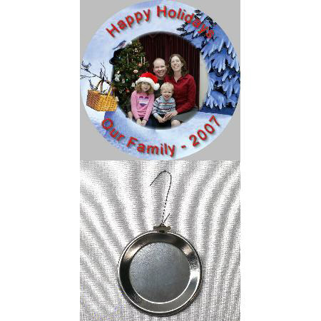 Button Photo Ornament - 1 inch Example