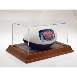 Fullsize Football Holder with Oak Base Example